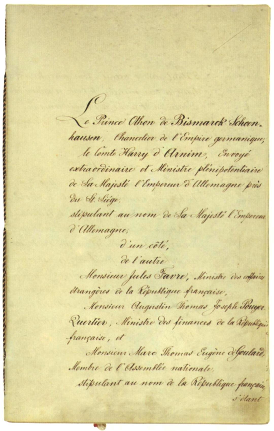 Der Frankfurter Frieden Von 1871 Der Erste Friedensschluss Des