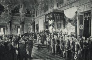 """Die Eröffnung des Reichstags im Weißen Saal des Berliner Schlosses durch Wilhelm II. (25. Juni 1888)"""", Ausschnitt, Anton von Werner, Lichtdruck, 1895"""