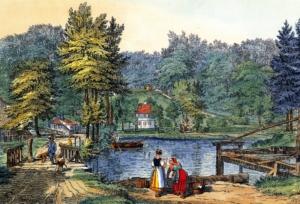Historische Darstellung des Schlossteichs in Friedrichsruh, im Vordergrund stehen zwei Frauen, wahrscheinlich Wäscherinnen.