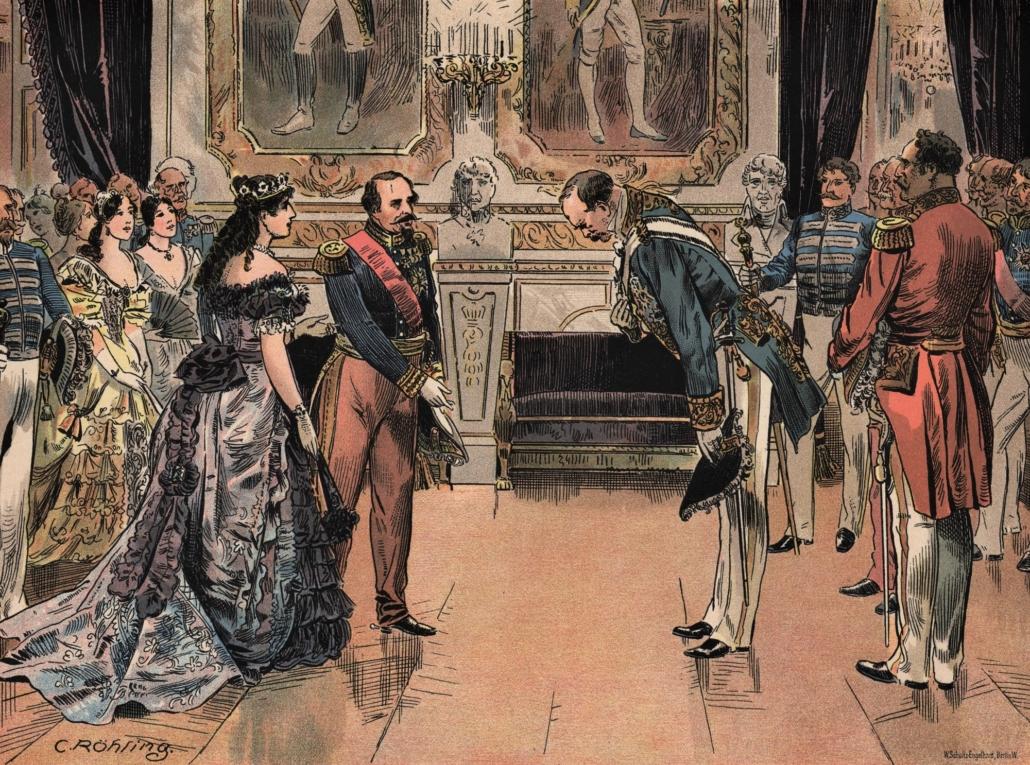 Otto von Bismarck verneigt sich in einem Ballsaal für dem Kaiserpaar.