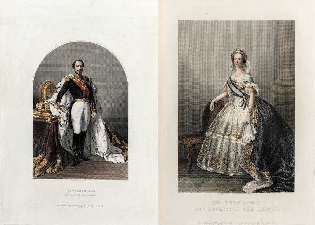 Die Kaiserin trägt ein vornehmes Kleid mit Schärpe, der Kaiser trägt über seiner Uniform einen Hermelinmantel.