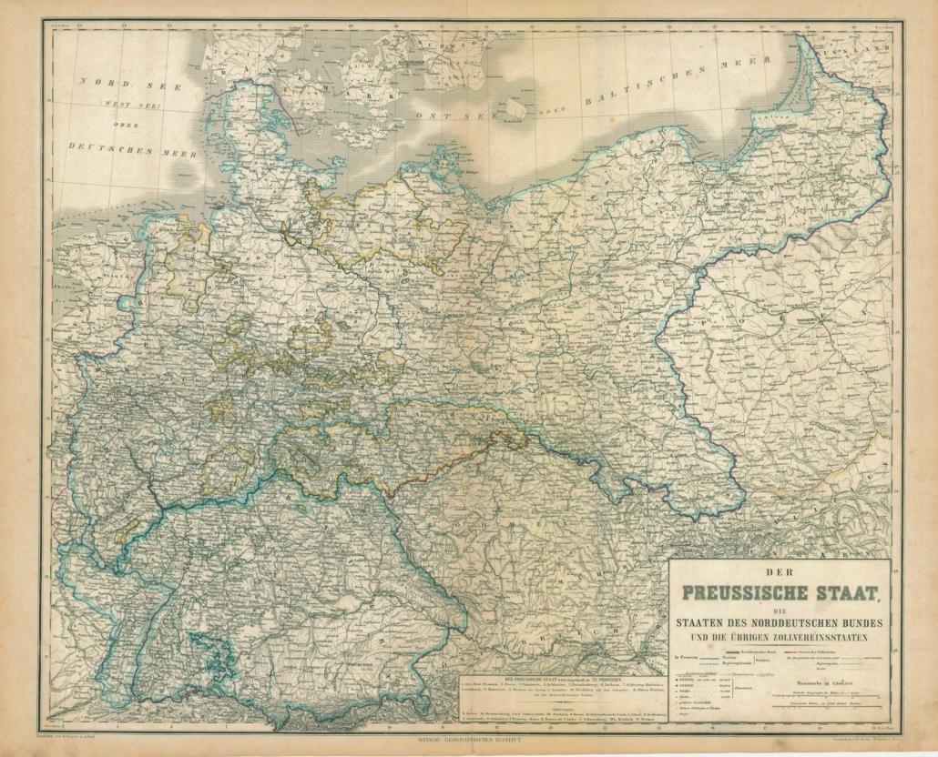 Eine Landkarte zeigt die Grenzen des Norddeutschen Bunds.