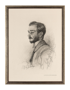 Die Zeichnung zeigt einen jungen Mann von der Seite mit ernstem Blick