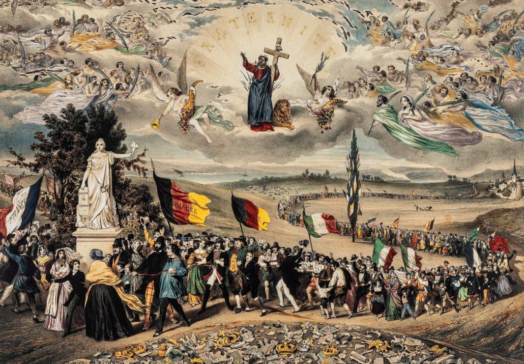 Menschen schwenken in einem langen Zug die französische, deutsche und italienische Fahne. Am Boden liegen Königskronen, der Himmel ist voller himmlischer Gestalten, die den Menschen Bestand leisten.
