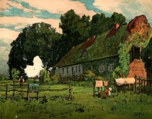 Zu sehen ist ein einfaches Haus. Im Vordergrund hängt Wäsche über einem Zaun, davor kniet eine Frau bei der Gartenarbeit.